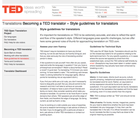 TED style guide